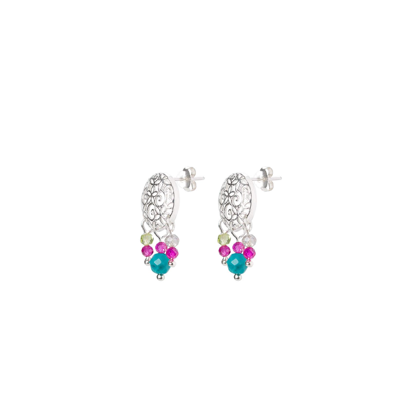 Turquoise and silver mandala earrings