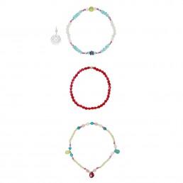 Ruby and apatite triple bracelet