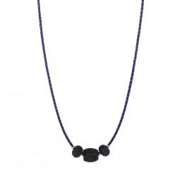 collar de cuero azul con lava
