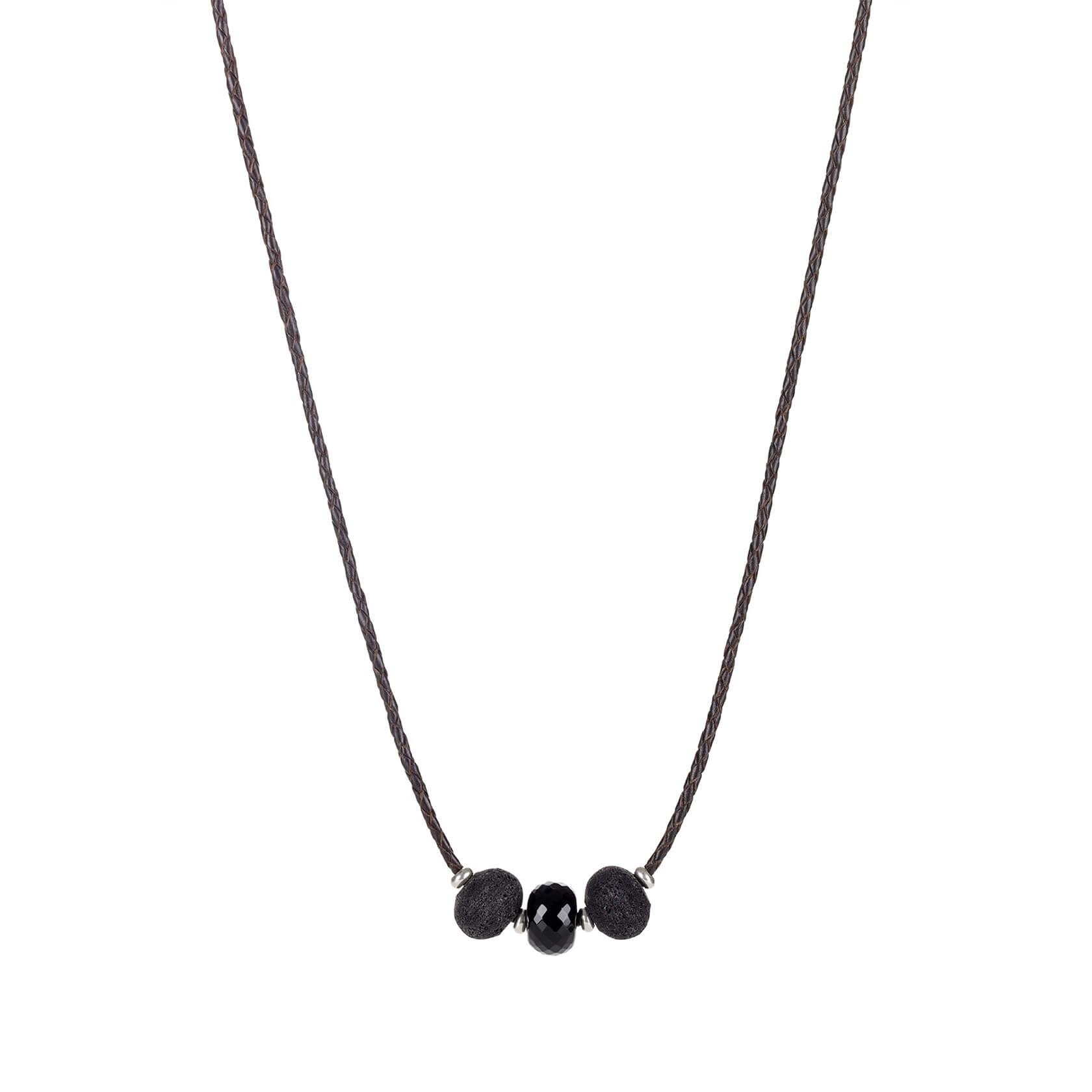 collar de cuero negro con lava