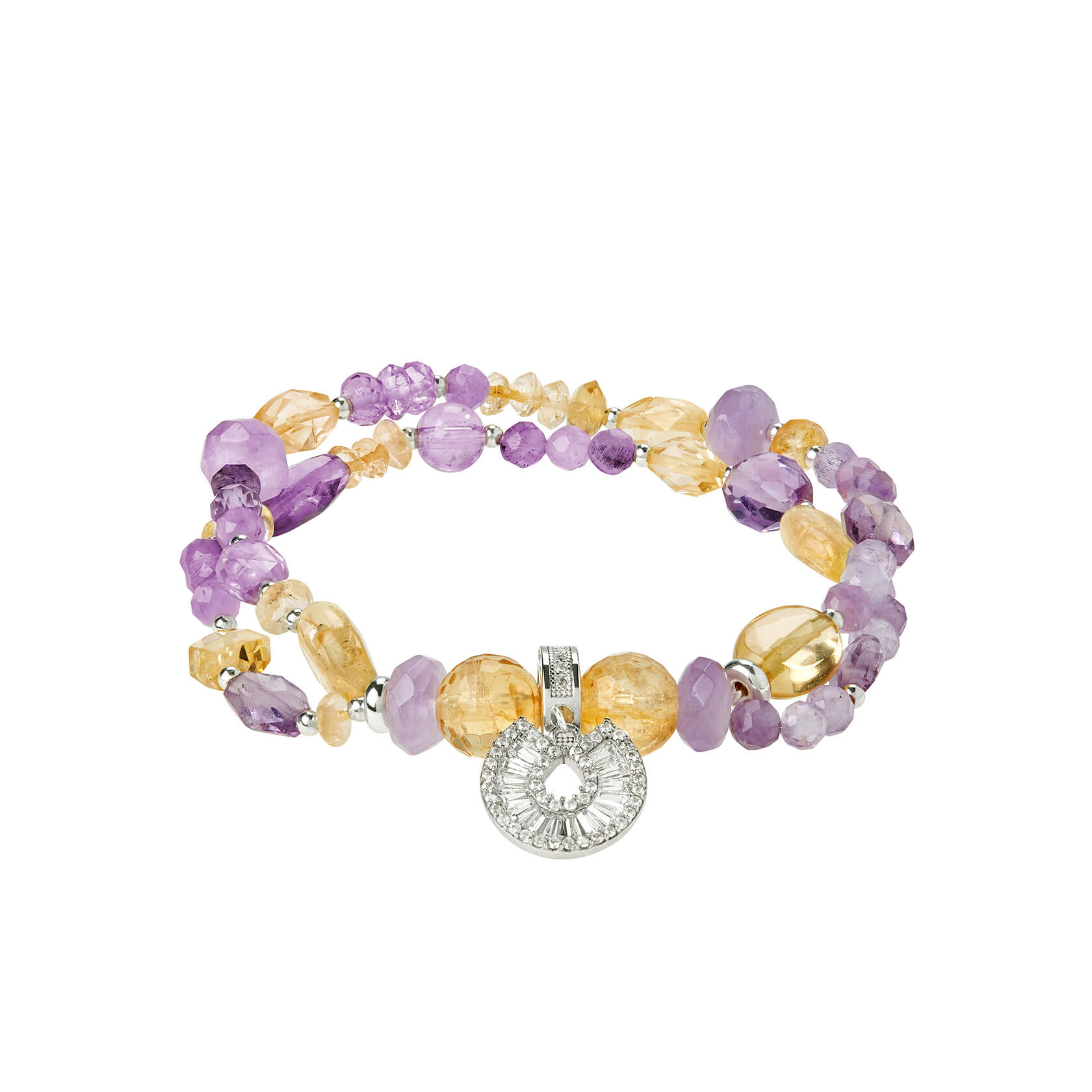 Citrine and amethyst double bracelet