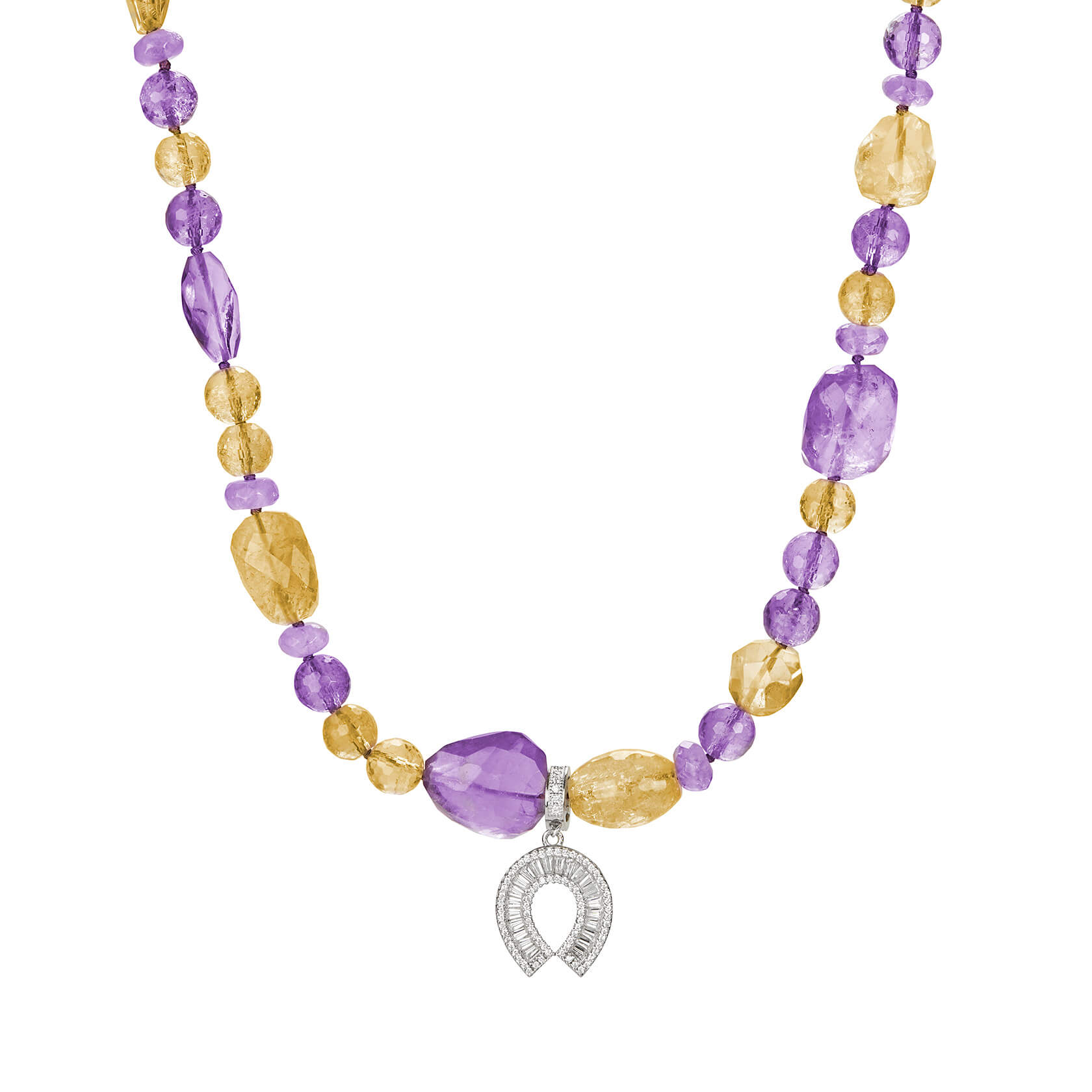 Short amethyst and citrine necklace