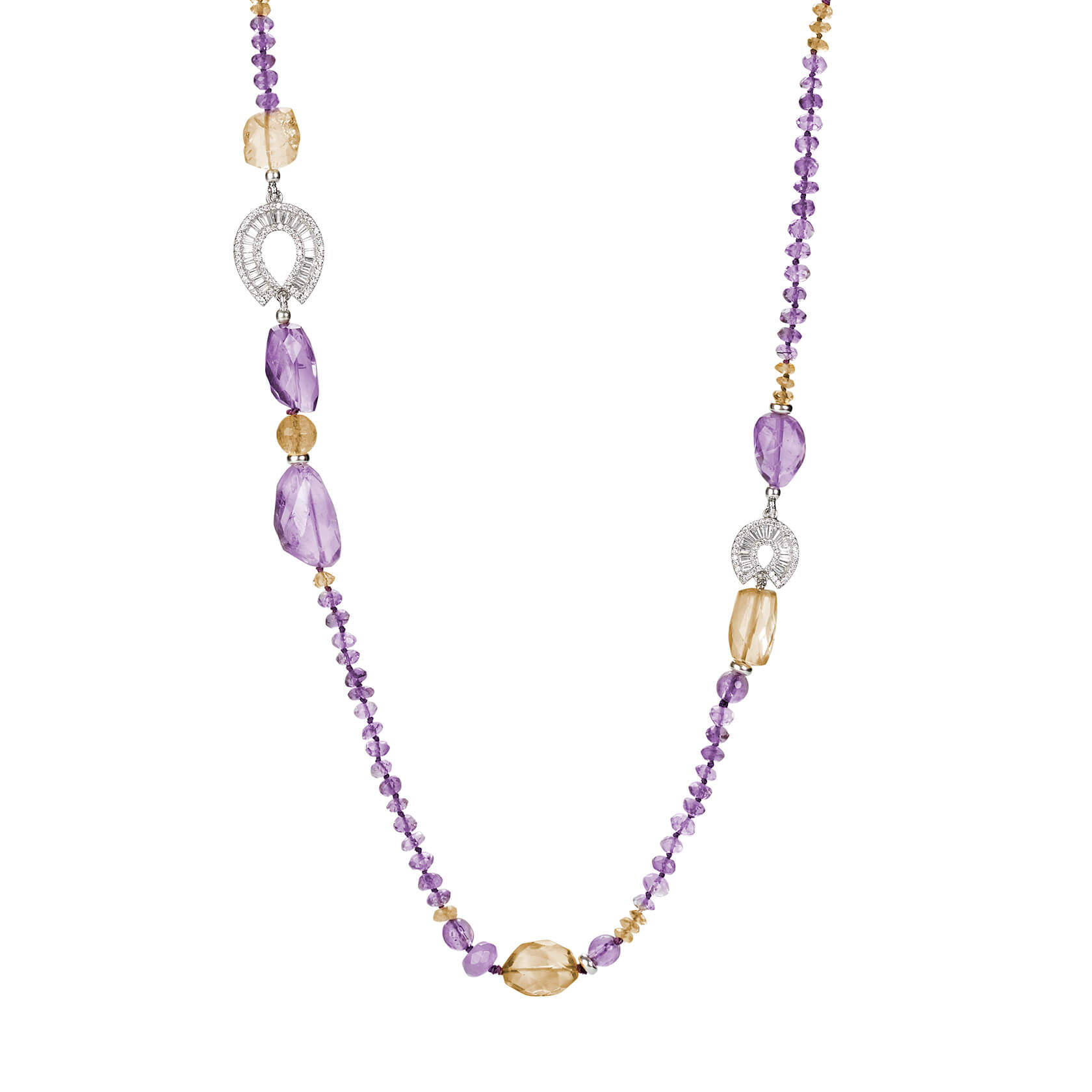 Citrine and amethyst long necklace