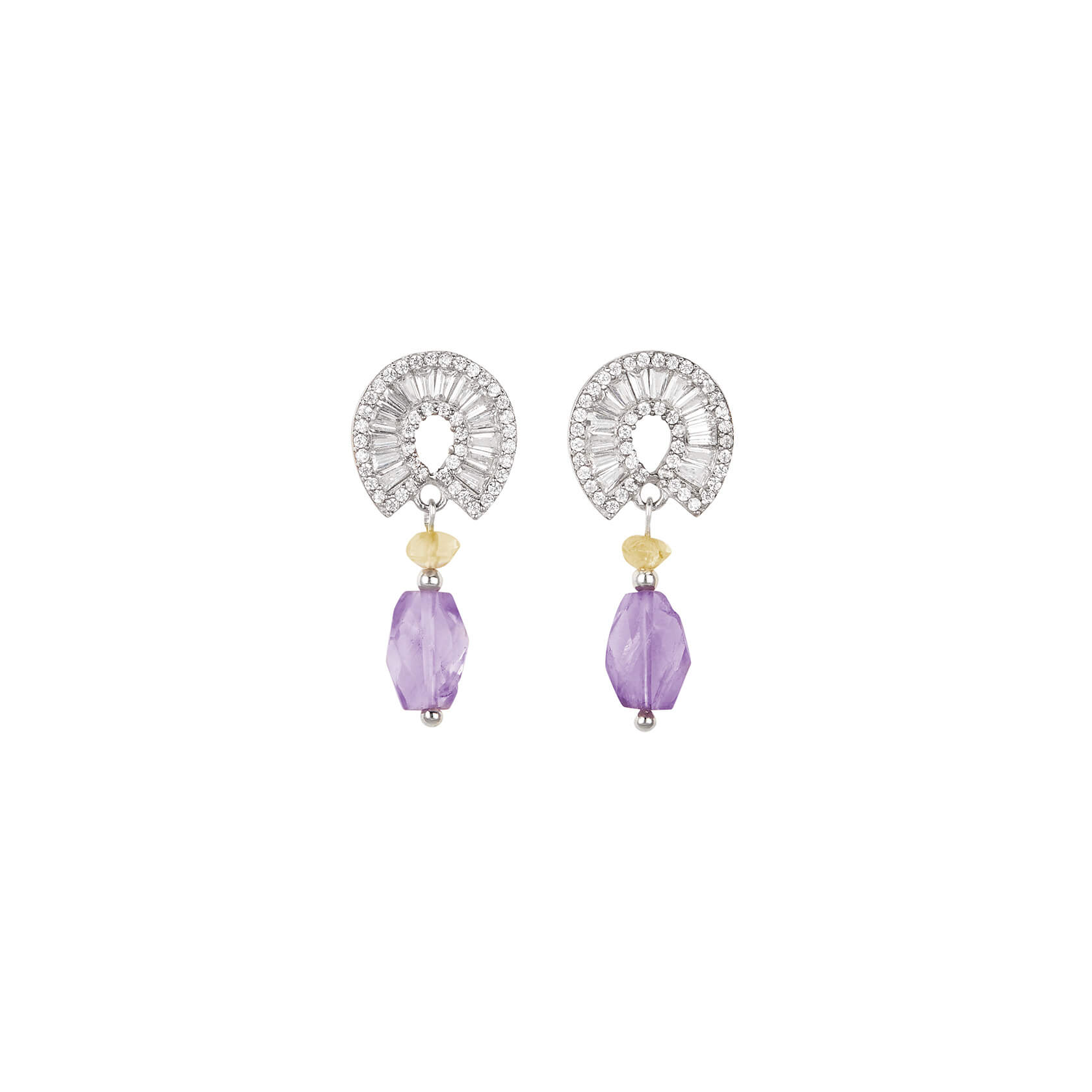 Small earrings with amethyst and citrine