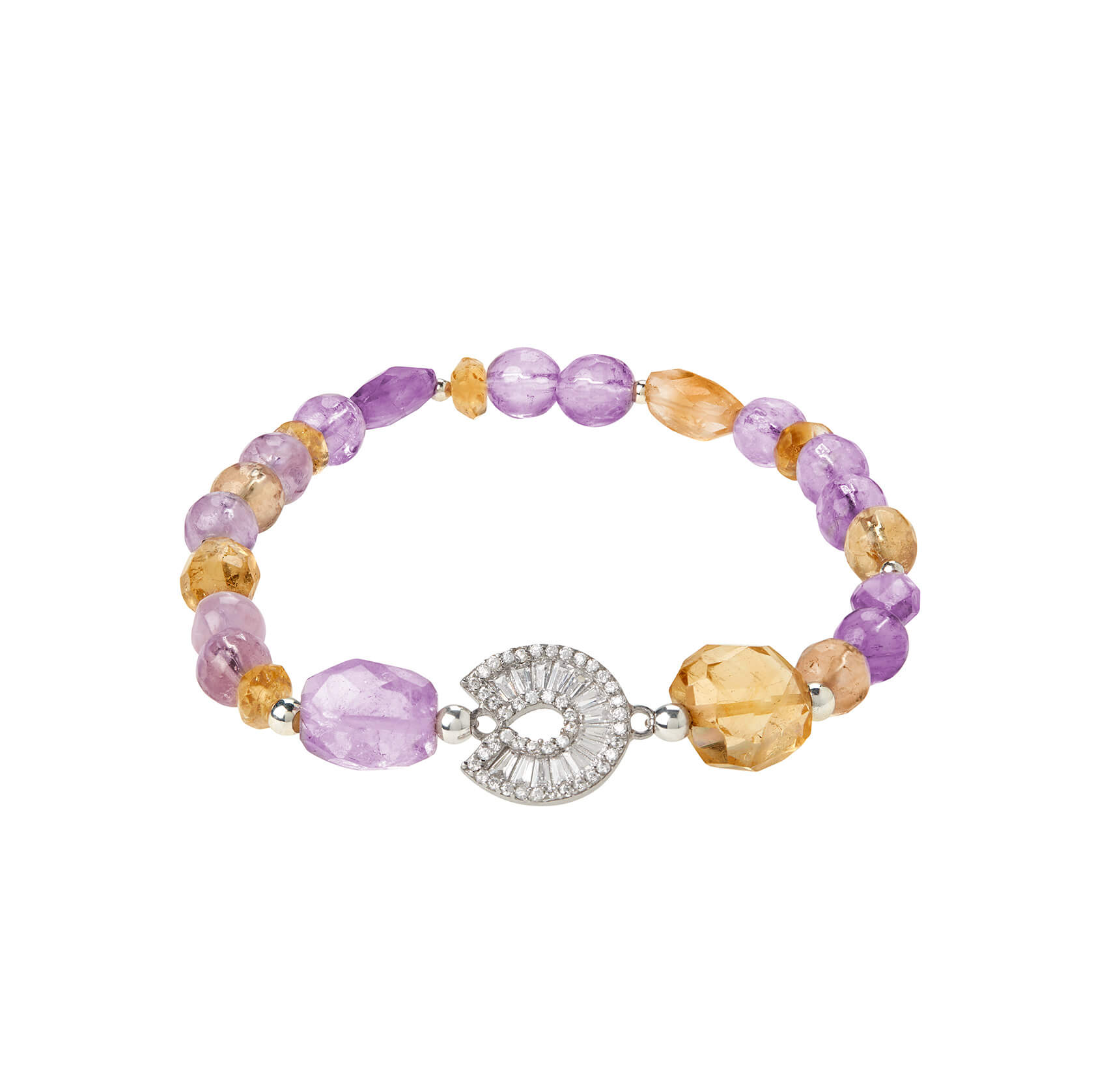 Amethyst, citrine and ametrine bracelet